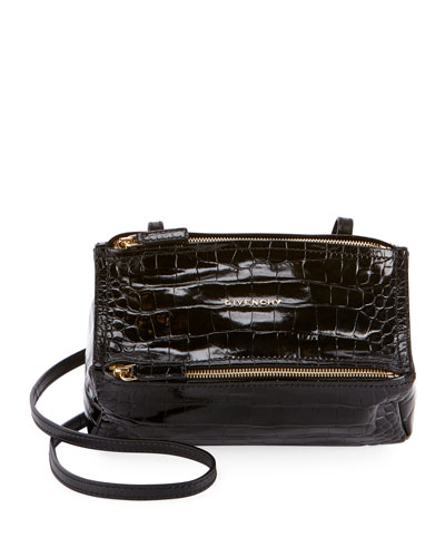 Pandora Mini Crocodile-Embossed Crossbody Bag