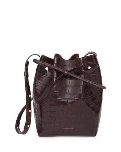 Mini Crocodile-Embossed Bucket Bag