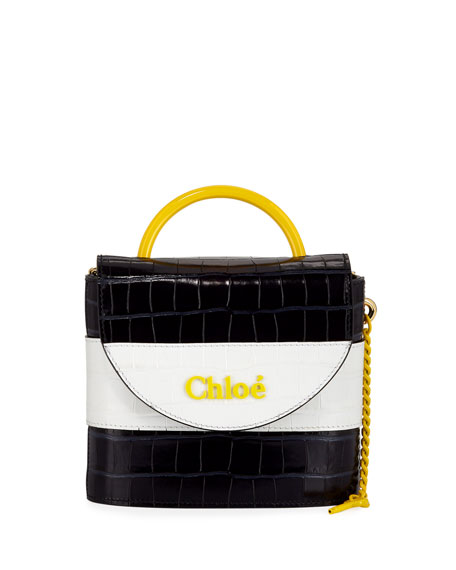 Chloe Aby Lock Crocodile-Embossed Crossbody Bag