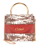 Chloe Aby Lock Lizard-Embossed Shoulder Bag with Metal