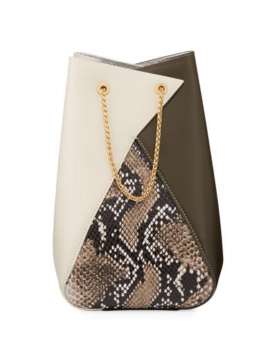 Mani Snake-Print Leather Bucket Bag