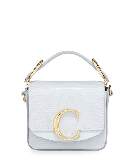 Chloe C Lizard Embossed Leather  Crossbody Bag