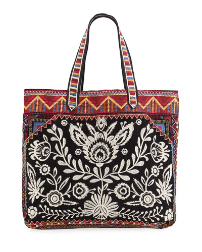Mica Embroidered Velveteen Everyday Tote Bag