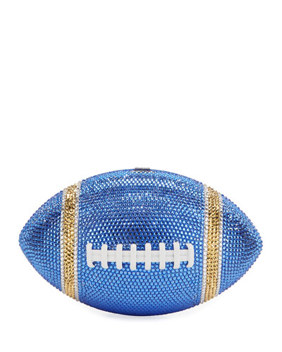 Game Ball Football Crystal Clutch Bag, Blue/Gold