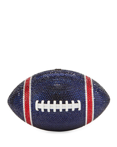 Game Ball Football Crystal Clutch Bag, Blue/Red