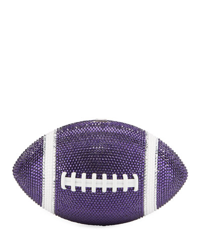 Game Ball Football Crystal Clutch Bag, Purple/White