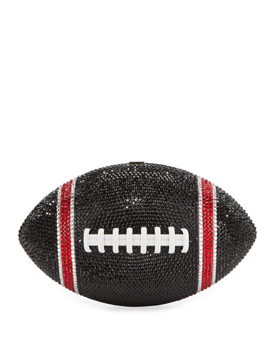 Game Ball Football Crystal Clutch Bag, Black/Red