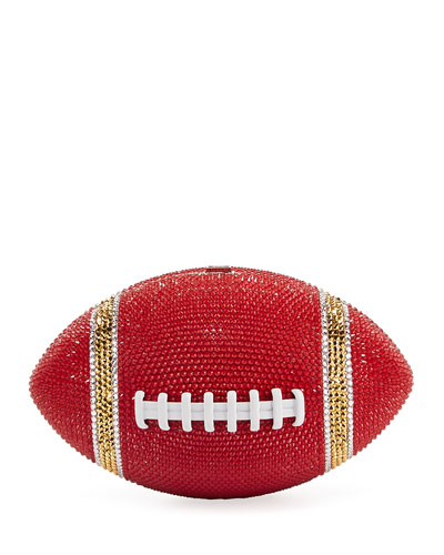 Game Ball Football Crystal Clutch Bag, Red/Gold