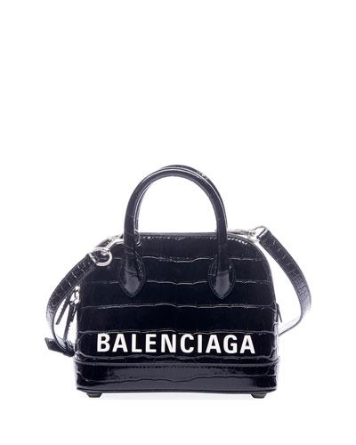 Ville XXS AJ Crocodile-Embossed Top-Handle Bag