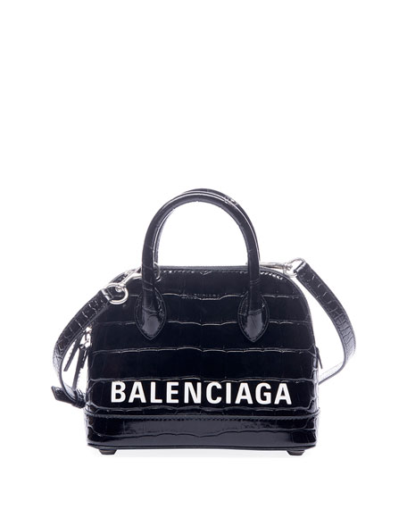 Balenciaga Ville XXS AJ Crocodile-Embossed Top-Handle Bag