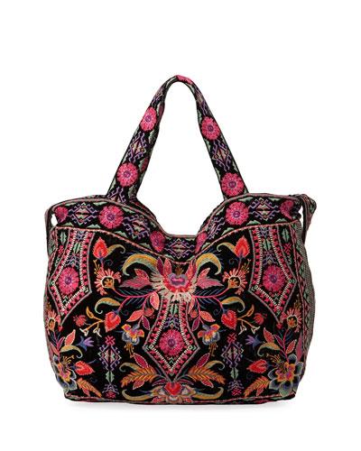 Ioana Embroidered Velvet Tote Bag