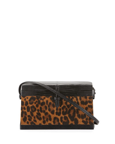 Square Trunk Leopard Top Handle Bag