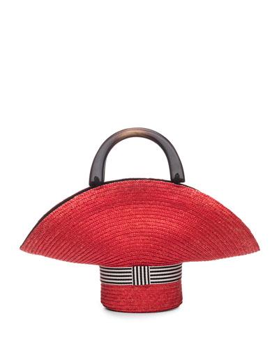 Medium Sized Straw Tote Bag, Red