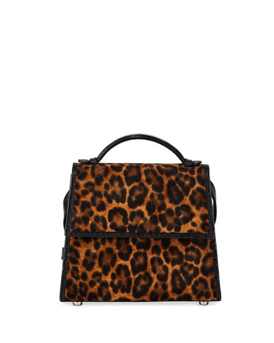 Small Leopard-Print Suede Top-Handle Bag