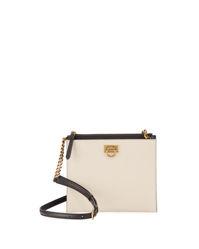 Gancio Square Bicolor Crossbody Bag