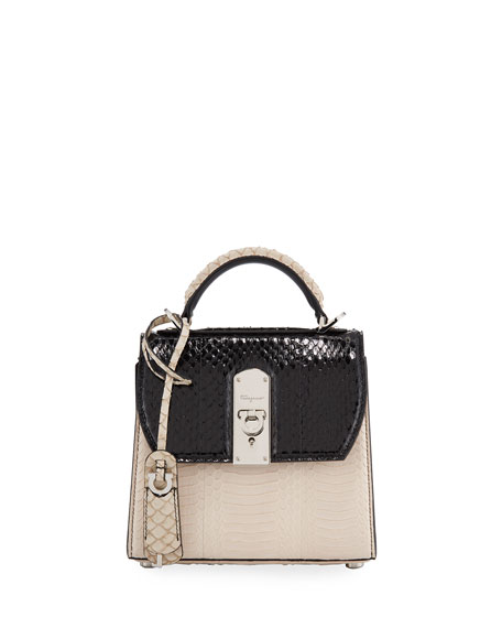 Salvatore Ferragamo Boxyz Mini Contrast Elaphe Snakeskin Bag