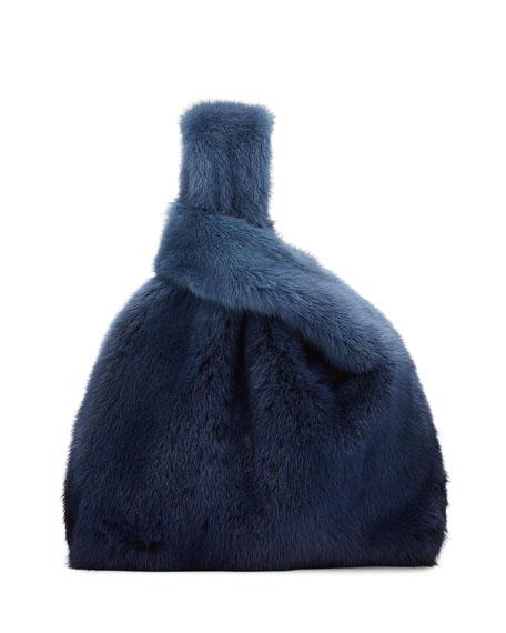 Simonetta Ravizza Furrissima Ombre Mink Fur Shopper Tote Bag, Blue