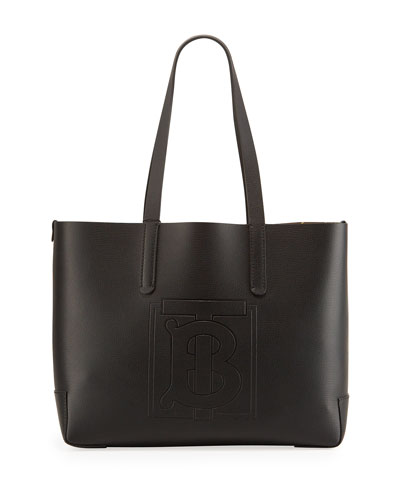 TB Embossed Medium Tote Bag, Black