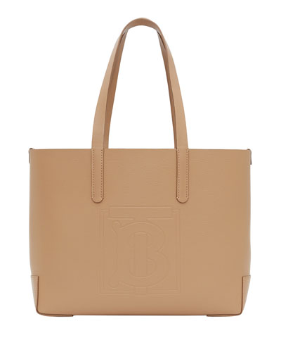 TB Embossed Medium Tote Bag, Camel