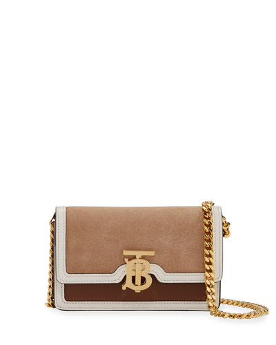 Mini Suede and Two-Tone Leather Shoulder Bag