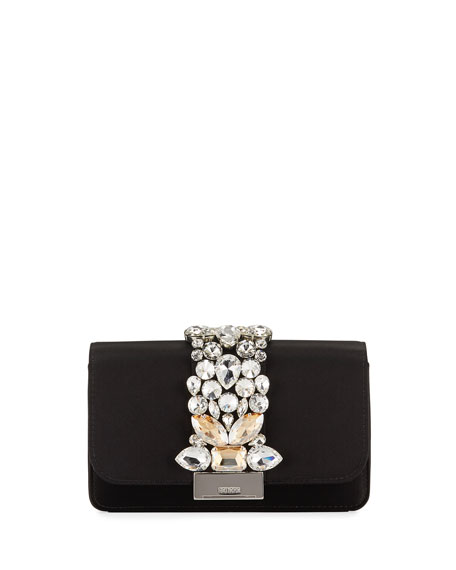 Gedebe Cliky Mini Jeweled Satin Clutch Bag