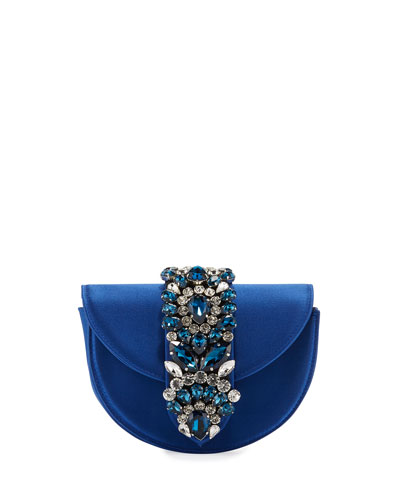 Brigitte Mini Jeweled Satin Top-Handle Bag