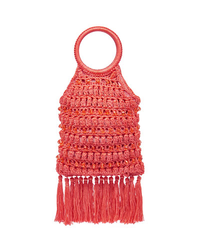 Sara Ring-Handle Macrame Tassel Bag