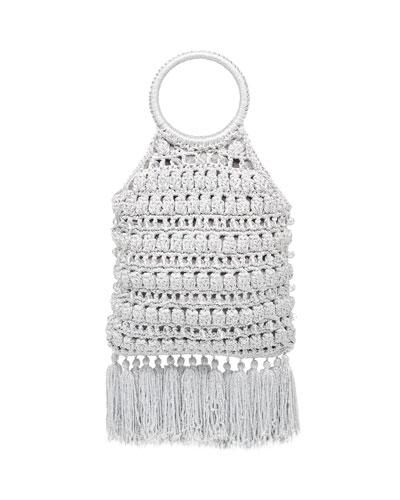 Sara Ring-Handle Macrame Tassel Bag