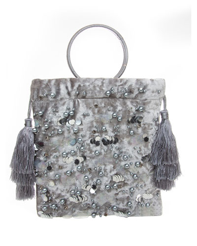 Audrey Ring-Handle Beaded Pouch Bag