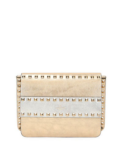 Rockstud Two-Tone Metallic Crackle Leather Shoulder Bag