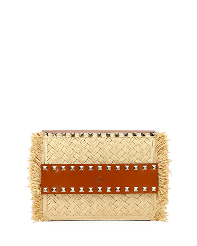Rockstud Small Raffia Shoulder Bag