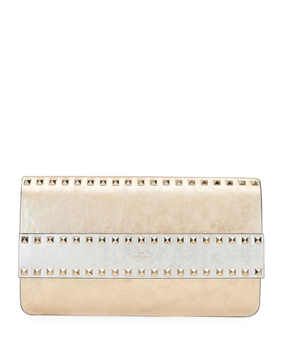 Rockstud Crackled Metallic Leather Clutch Bag