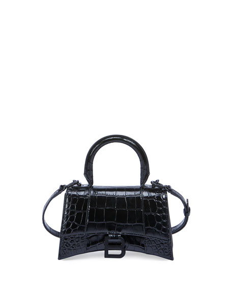 Balenciaga Hour XS Crocodile-Embossed Top-Handle Bag