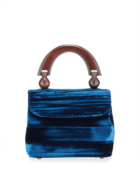 BY FAR Mini Fiona Crushed Top Handle Bag, Dark Blue