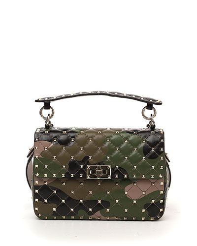 Rockstud Camo-Print Leather Shoulder Bag