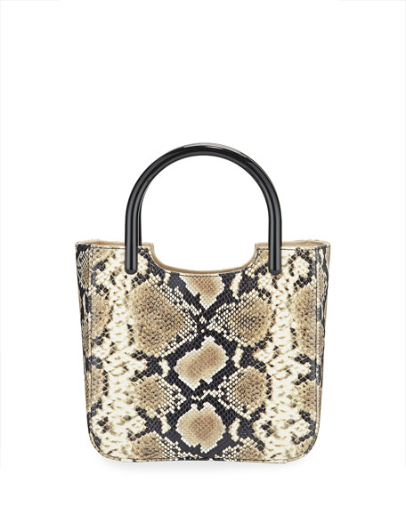 BY FAR Eric Snake-Embossed Leather Tote Bag