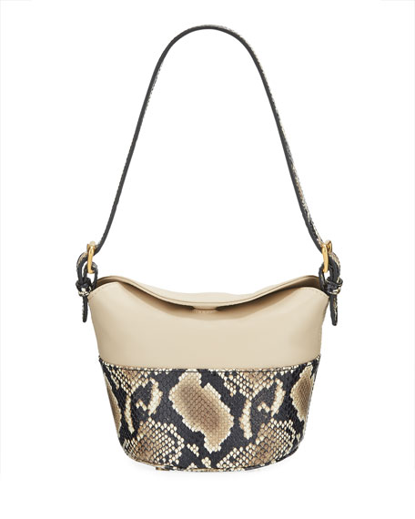 BY FAR Mini Jamie Snake-Print Shoulder Bag