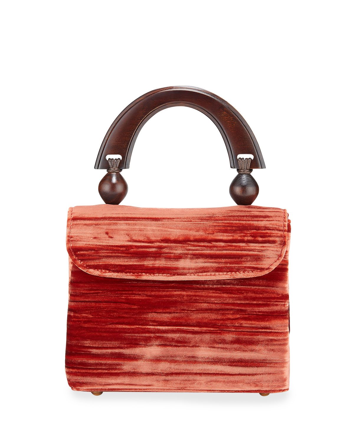 By Far Bags MINI FIONA CRUSHED TOP HANDLE BAG, RED
