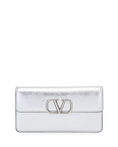 VSLING Metallic Leather Wallet on Chain