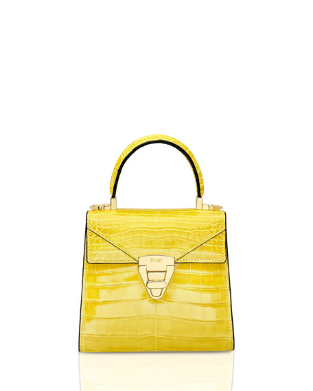 STALVEY Mini Trapezoid Crocodile Top Handle Bag, Yellow