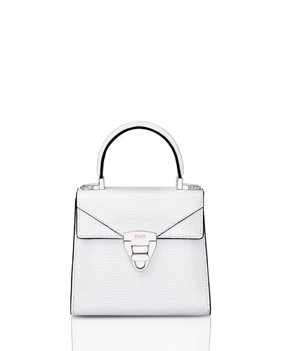 Mini Trapezoid Crocodile Top Handle Bag, White