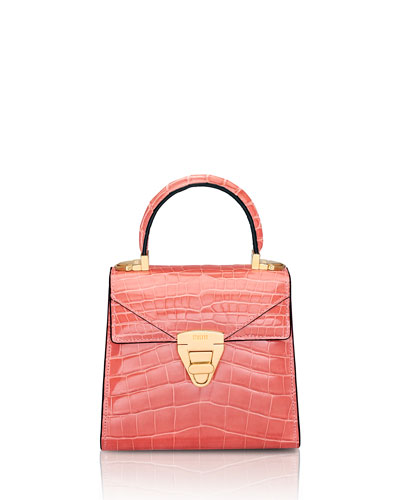 Mini Trapezoid Crocodile Top-Handle Bag