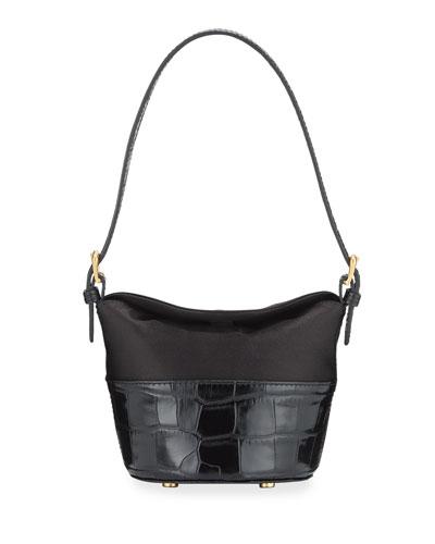 Jamie Mini Croc-Embossed Shoulder Bag
