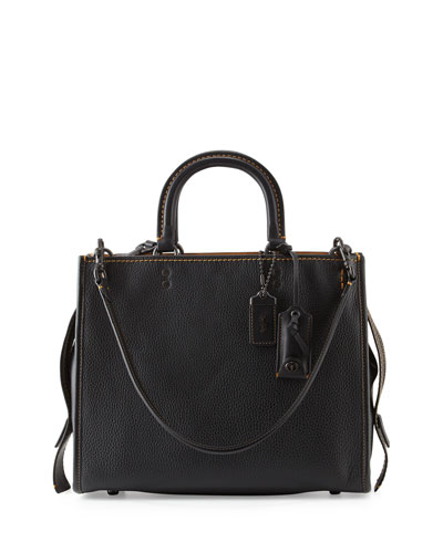 Rogue Small Leather Tote Bag, Black