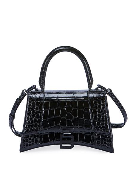 Balenciaga Hour Small Crocodile-Embossed Top-Handle Bag