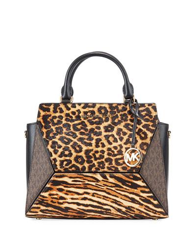 Prism Large Cheetah Satchel Bag