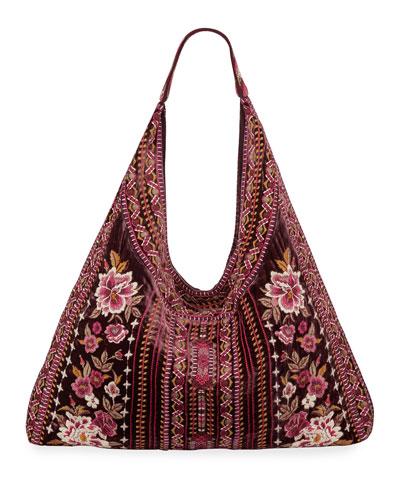 Valmere Embroidered Velvet Hobo Bag