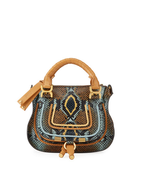 Chloe Marcie Mini Python-Embossed Double-Carry Satchel Bag