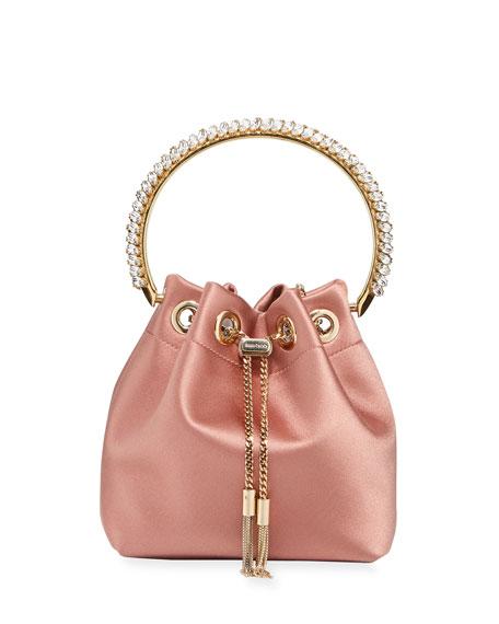 Jimmy Choo Bon Bon Satin Top Handle Bag with Crystals