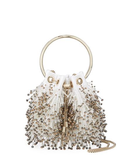 Jimmy Choo Bon Bon Fringed Bead Embroidered Bag